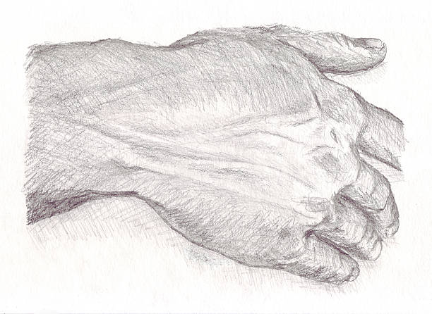 pencil sketch of a mans hand - lead stock photos and pictures