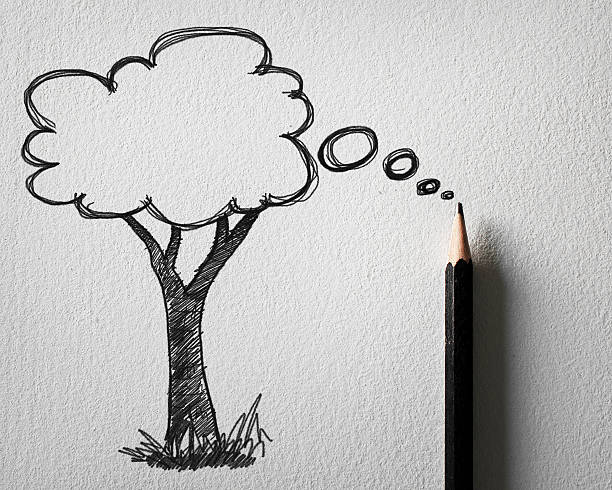 pencil sketching of tree bubble concept on white paper stock photo