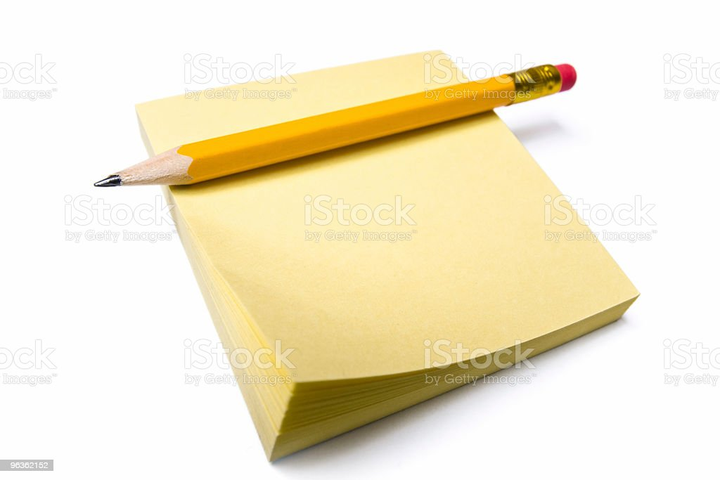 Pencil & Stack of Notes royalty-free stock photo