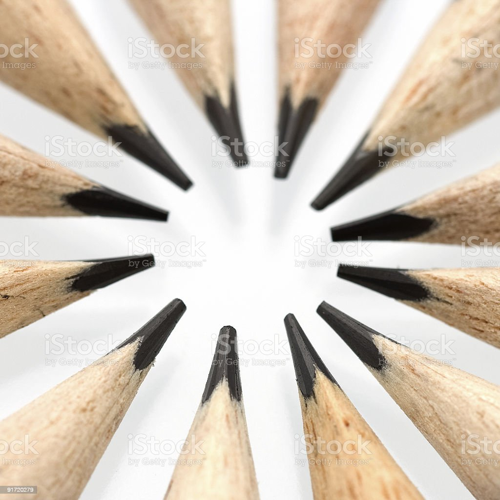 Pencil tips in a circle stock photo