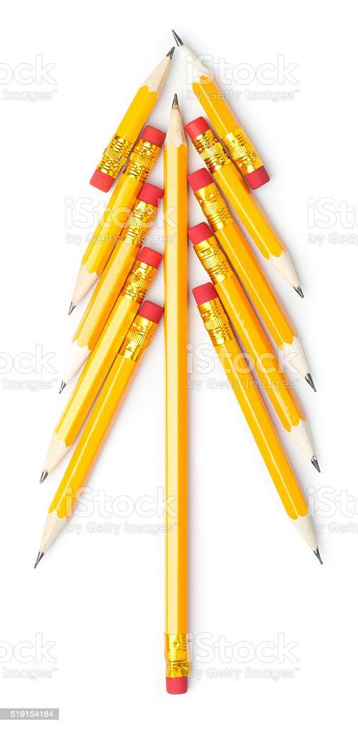 Pencil tree on white background stock photo
