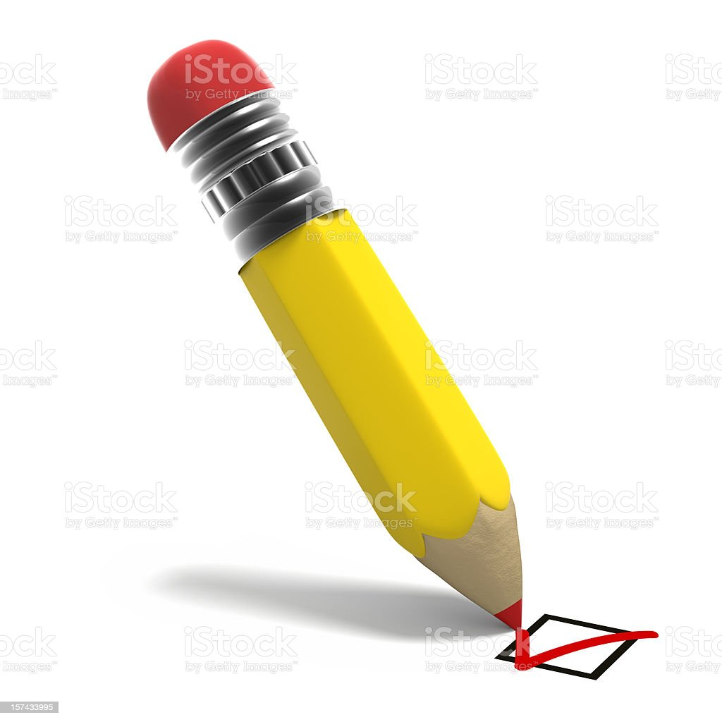 Pencil with check mark royalty-free stock photo