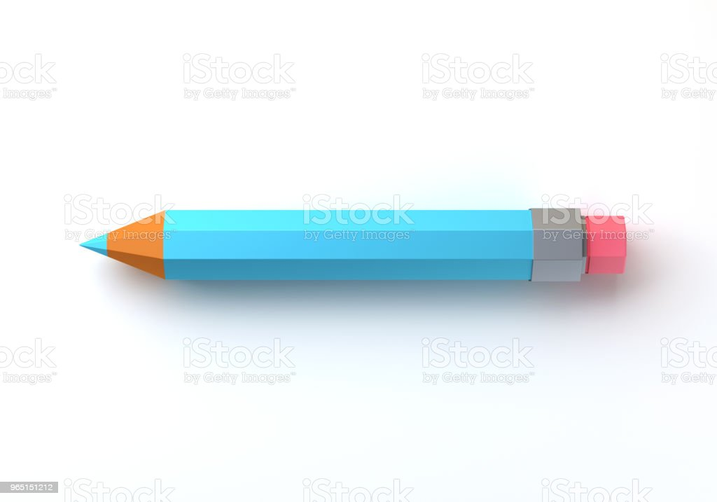 Pencil with eraser on white isolated background. 3d stock photo