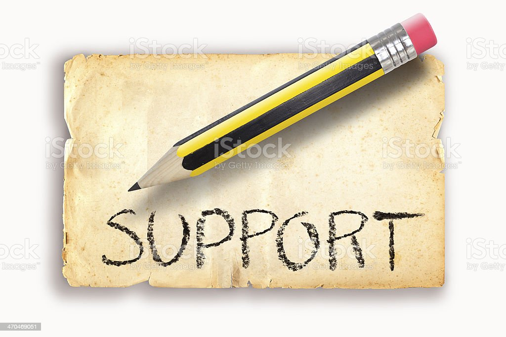 Pencil writing SUPPORT on old paper royalty-free stock photo