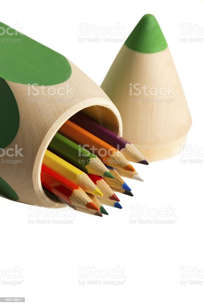 pencil-case with colored pencils on white backgrounds royalty-free stock photo