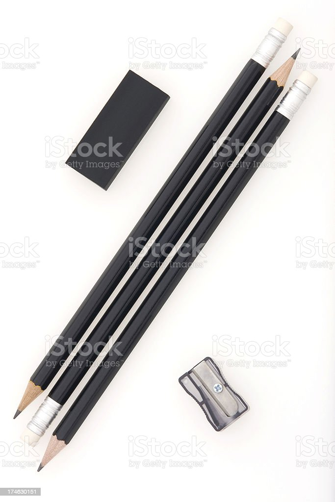 Pencil,Eraser and Sharpener stock photo