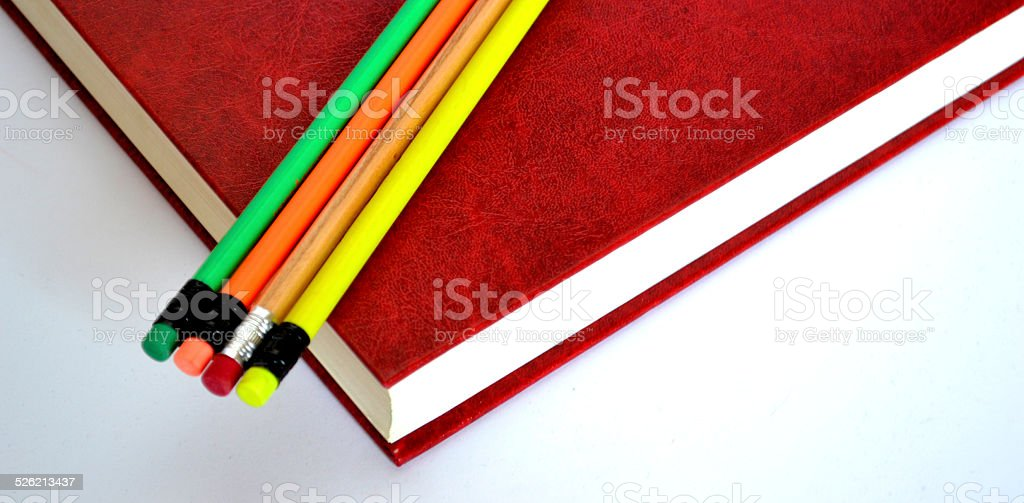 pencils and books stock photo
