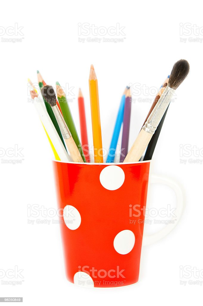 Pencils and brushes in a cup royalty-free stock photo