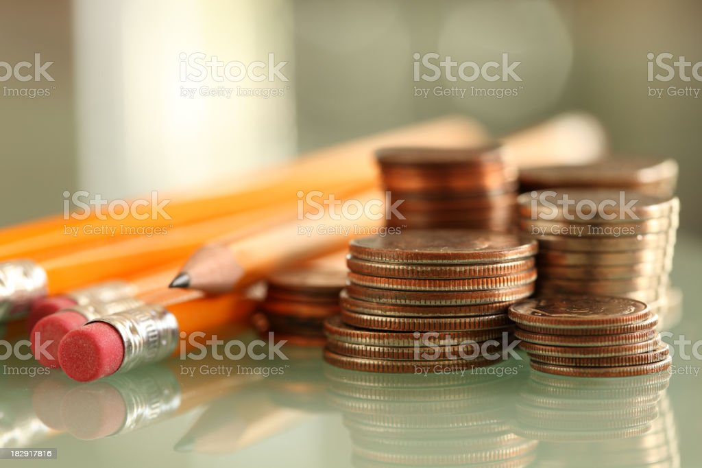 pencils and coins royalty-free stock photo