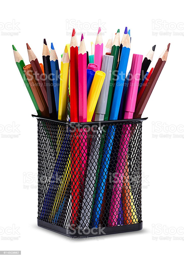 Pencils and markers in metal glass stock photo