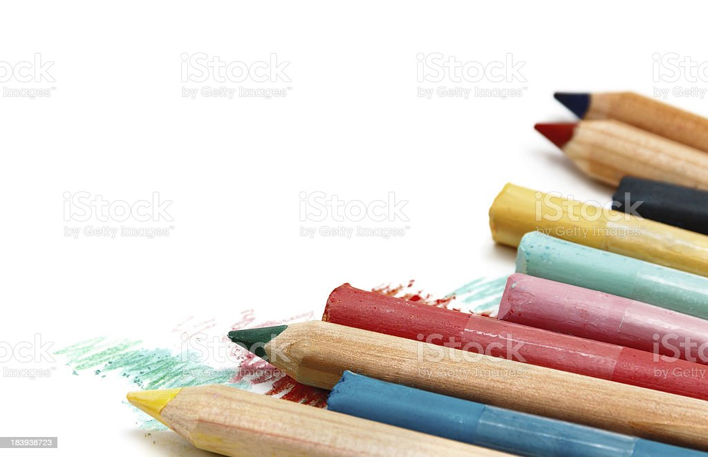 Pencils and pastel isolated on white stock photo