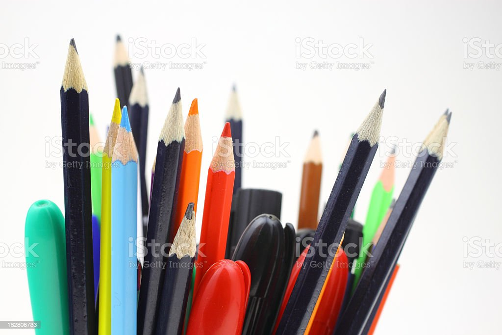 Pencils and pens royalty-free stock photo