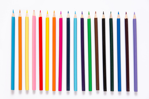 Pencils colorful set, wooden colored pencils isolated on white background, copy space