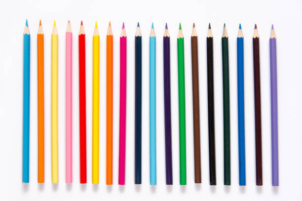 pencils colorful set, wooden colored pencils isolated on white background, copy space - coloured pencil stock photos and pictures