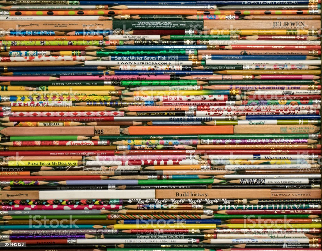 Pencils in a row stock photo