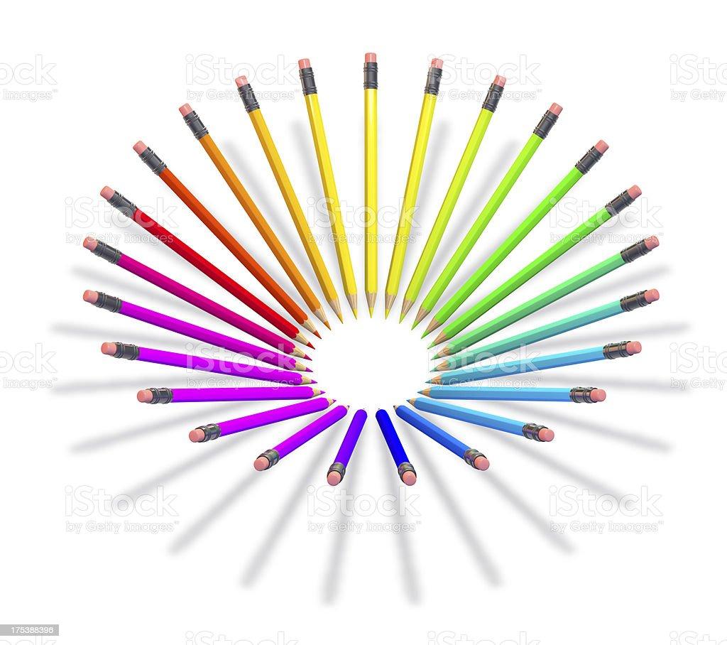 Pencils in full spectrum of colours stock photo