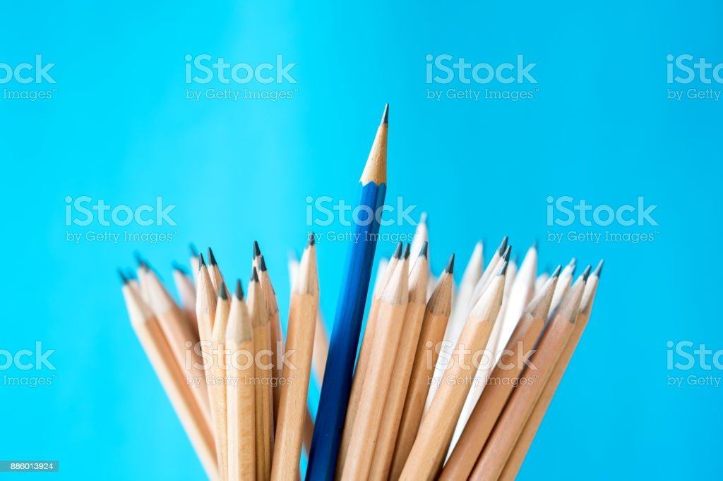 Pencils isolated on blue backgroun – Foto