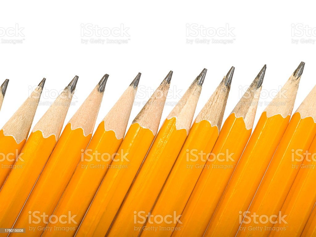 Pencils lined up at an angle royalty-free stock photo