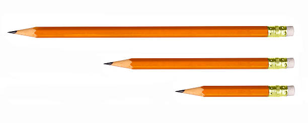 pencils of different lengths isolated on white stock photo