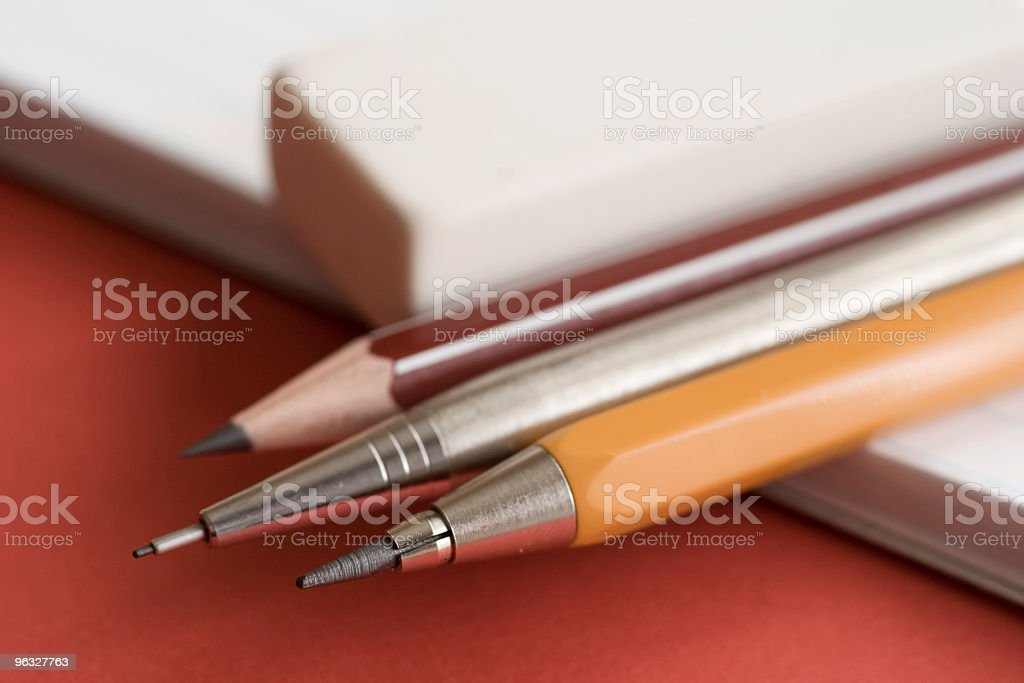 Pencils on a notebook royalty-free stock photo