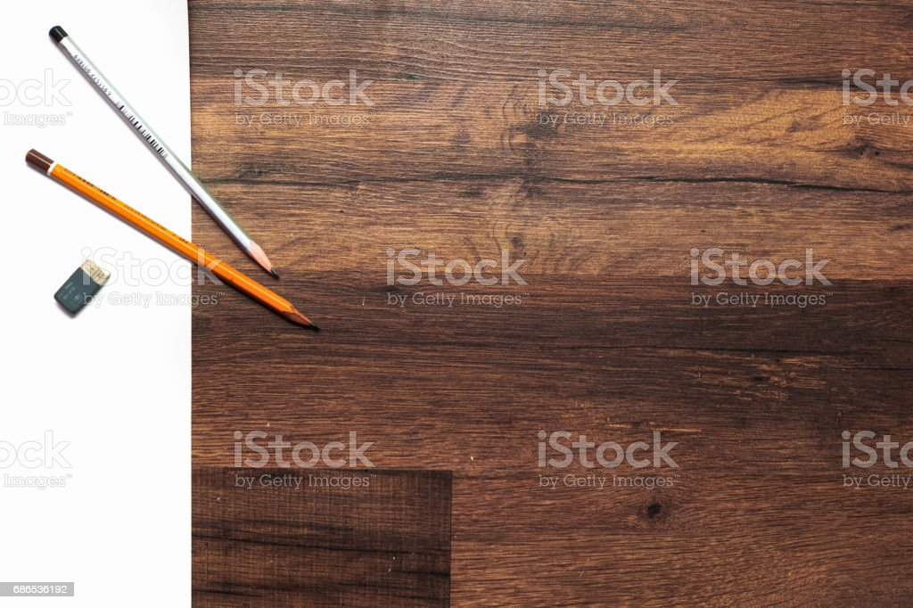 Pencils on a paper foto stock royalty-free