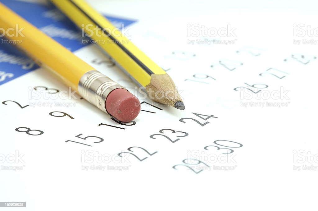 Pencils on calendar royalty-free stock photo