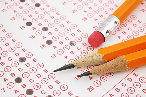 Pencils on Exam Sheet