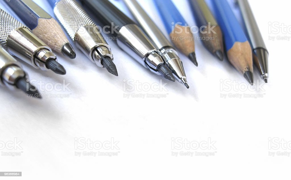 Pencils (wooden and mechanical) on white royalty-free stock photo