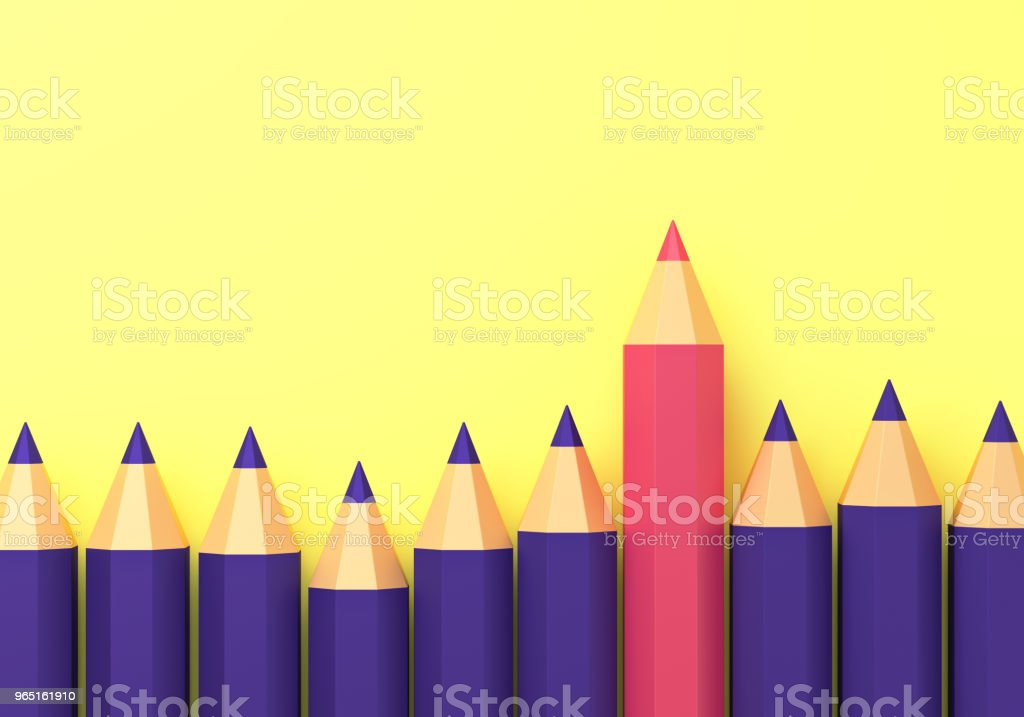 Pencils on yellow isolated background. 3d royalty-free stock photo