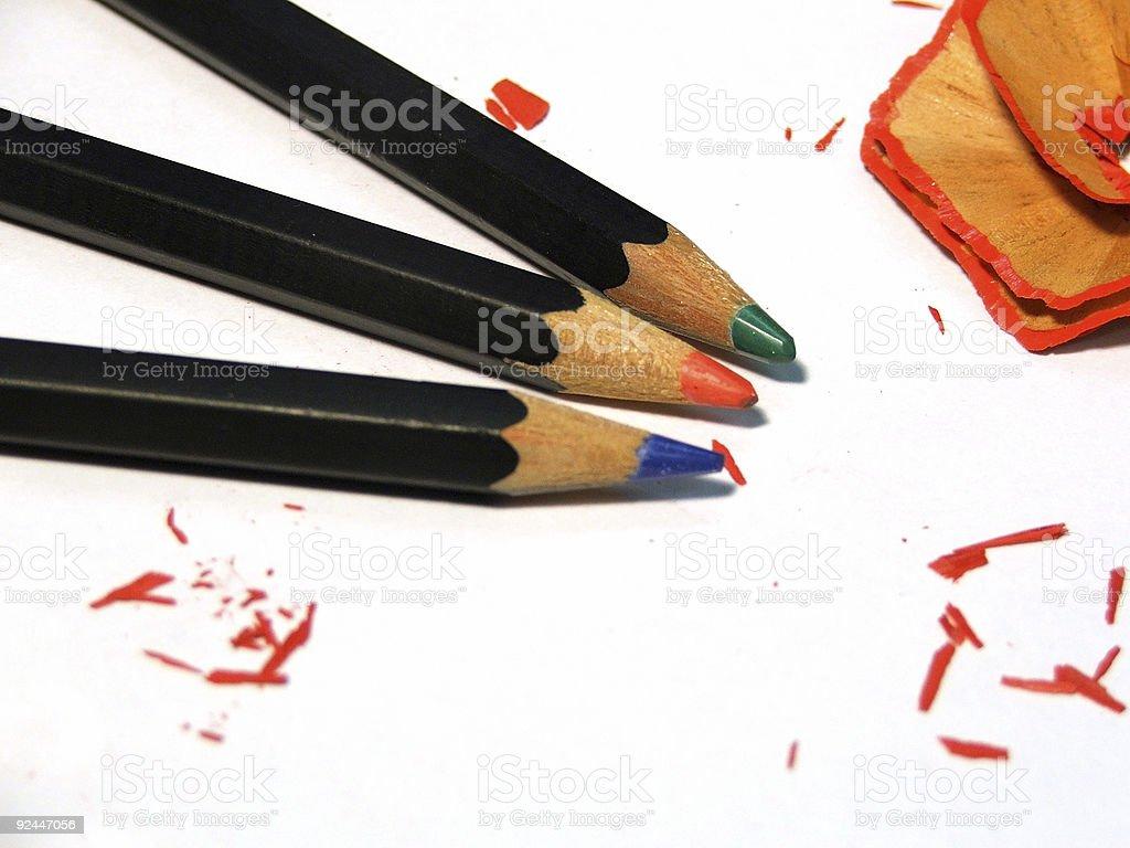 Pencils - three colours royalty-free stock photo