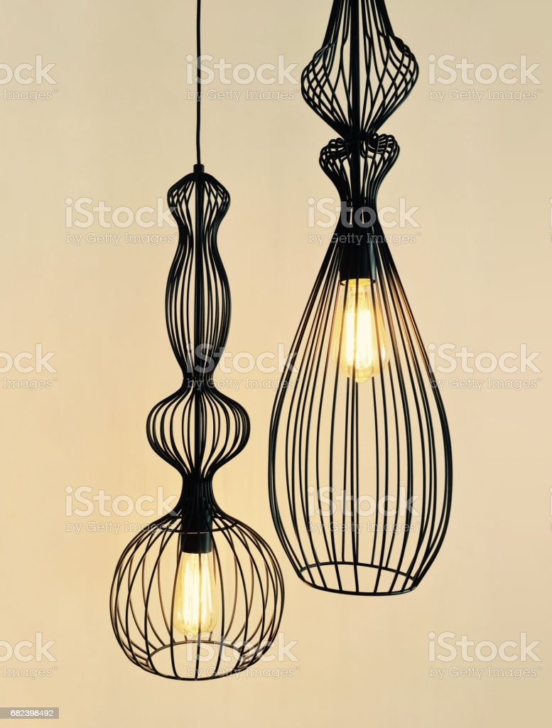 Pendant lamps made of black metal wire royalty-free stock photo