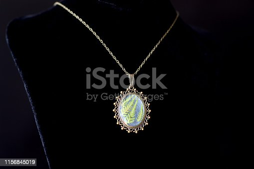 istock Pendant made of epoxy resin and fern leaf on a dark background close up 1156845019