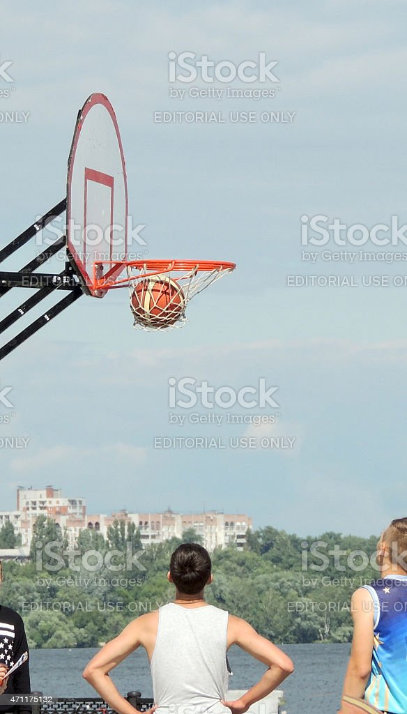 Pending for the fall basketball through the basket stock photo