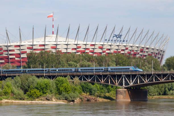 Pendolino crossing the Średnicowy bridge stock photo