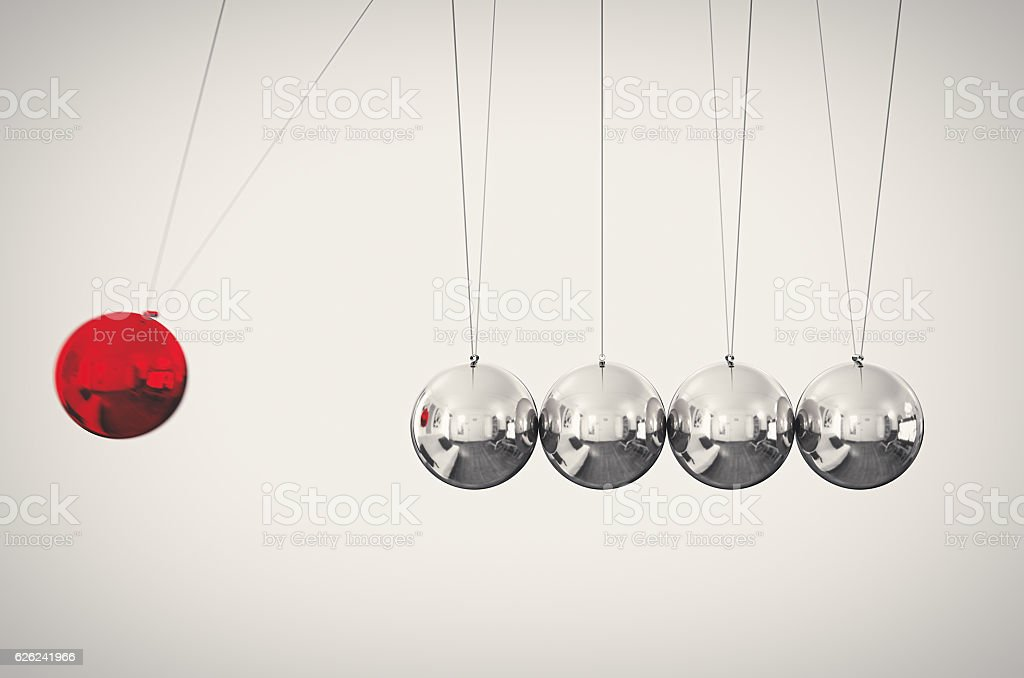 Pendulum Action Reaction stock photo