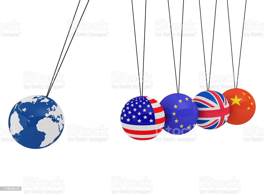 Pendulum of 3D spheres with the flag and globe stock photo