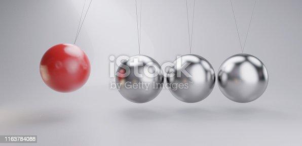 Pendulum red metallic silver chrome 3d-illustration background
