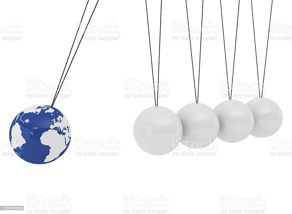 Pendulum three - dimensional white spheres and globe stock photo
