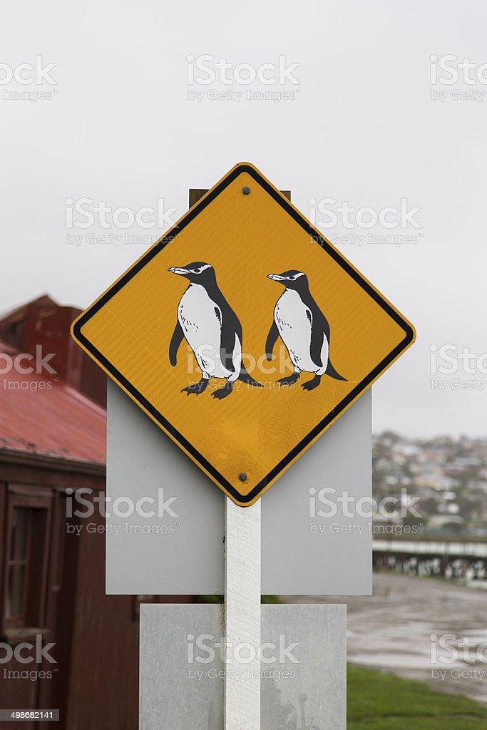Penguin crossing sign stock photo