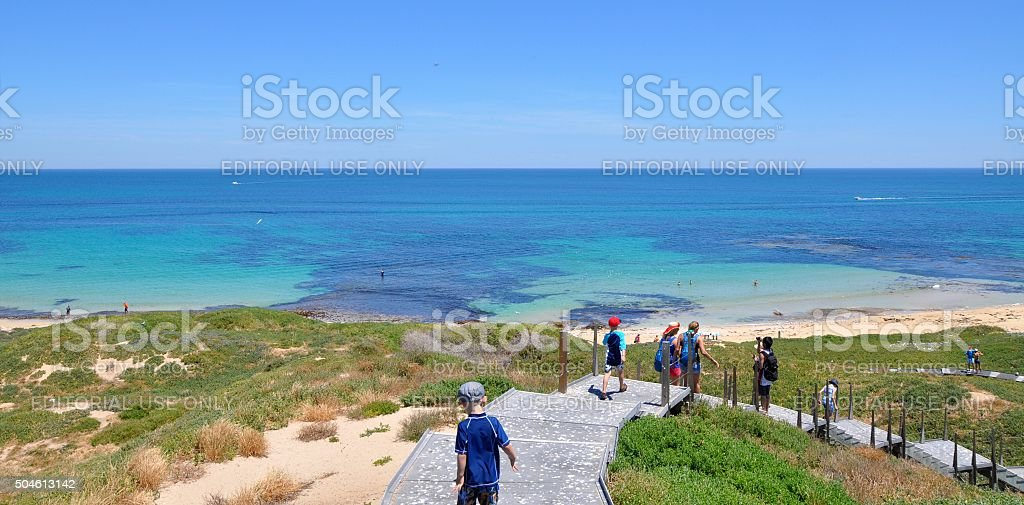 Penguin Island: Hike with an Ocean View, Western Australia stock photo