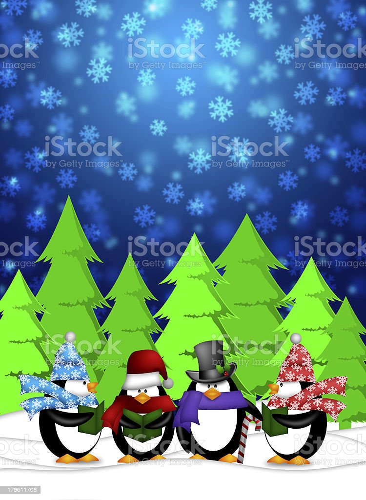 Penguins Carolers Singing with Winter Snowing Scene Illustration royalty-free stock photo