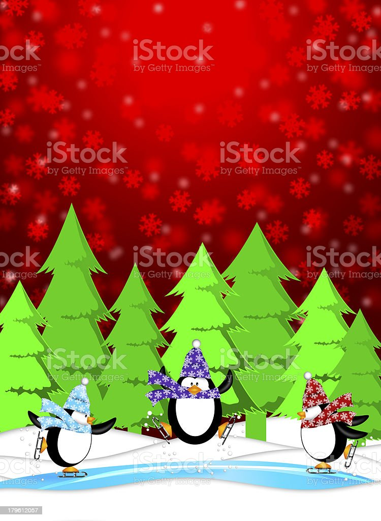 Penguins in Ice Skating Rink Winter Snowing Scene Illustration royalty-free stock photo