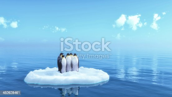 penguins floating on ice