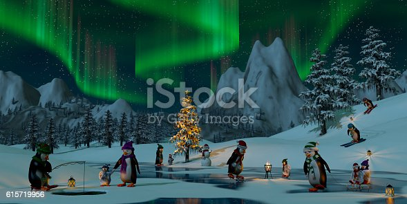 Penguins under the northern lights on a frozen lake in a snowy Christmas mountain landscape. A 3d render.