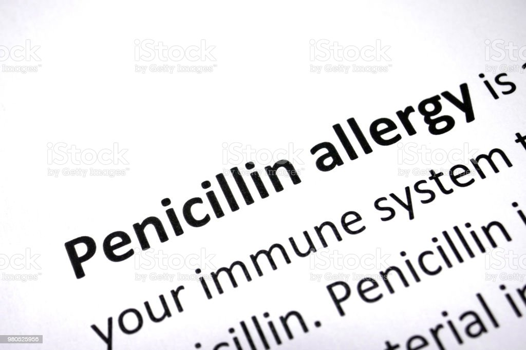 Penicillin Allergy stock photo