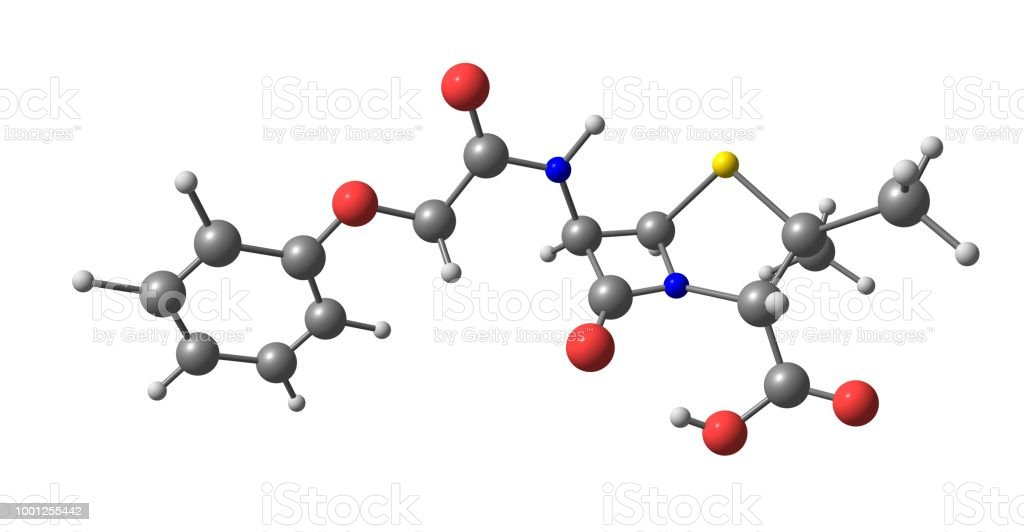 Penicillin molecular structure isolated on white stock photo