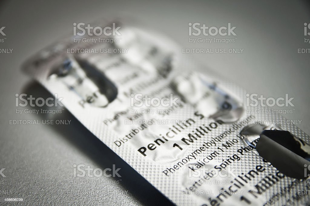 penicillin pill container stock photo