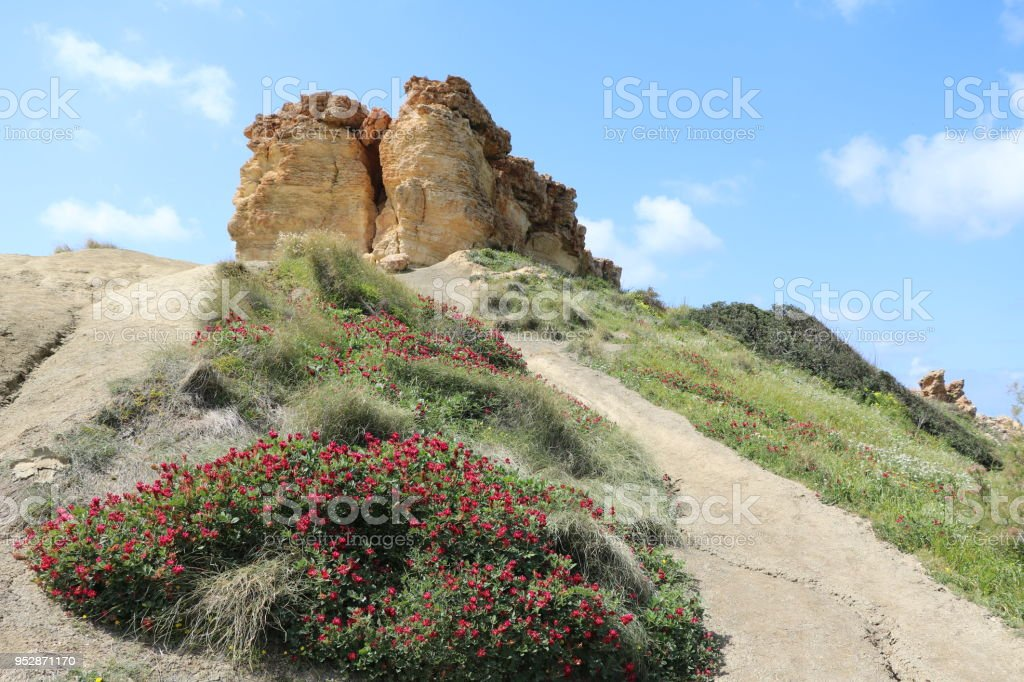Peninsula between Gnejna Bay and Ghajn Tuffieha Bay on the Mediterranean sea, Malta stock photo