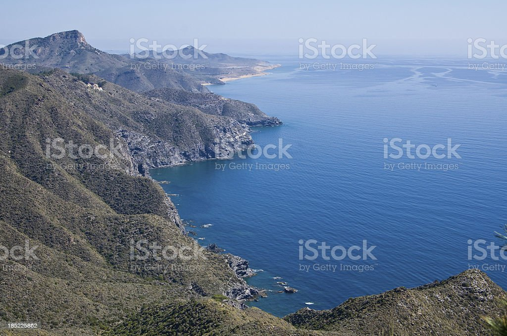 Peninsular south of La Manga at Monte de las Cinezas stock photo