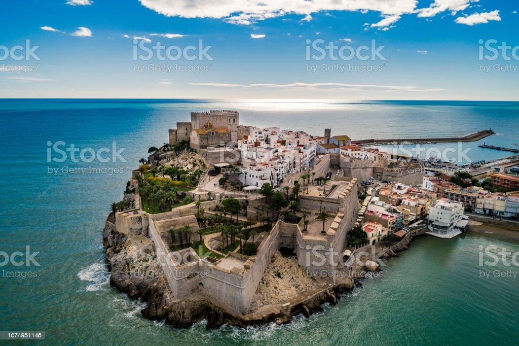 Peniscola aerial view Castellon Spain stock photo